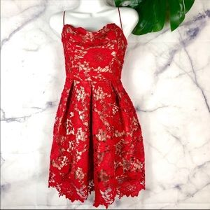 LUSH Lace Fit and Flare Dress in Red | Size: S